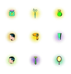Barber icons set pop-art style vector image