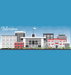 belmopan skyline with gray buildings and blue sky vector image
