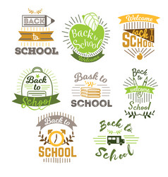 big set welcome back to school labels and logo vector image