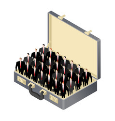 business team inside open case suitcase and vector image