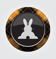 Button orange black tartan - rabbit rear view vector