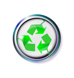 Button with recycling sign in silver frame vector