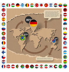cardboard template with world map and flags vector image