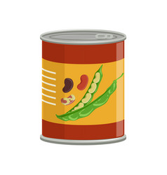 cartoon aluminum can with kidney beans food vector image
