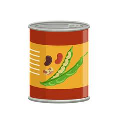 Cartoon aluminum can with kidney beans food vector