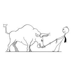 Cartoon of businessman pulling bull as rising vector