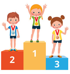 children sportsmen in sport clothes with medals vector image