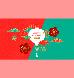 Chinese new year sale template gold lantern flower vector