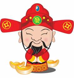 Choy san god of wealth vector