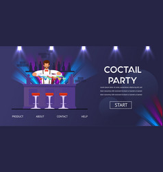 Cocktail party bartender at counter prepare drinks vector