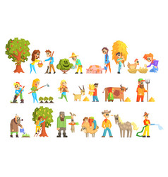 Collection of animal farm vector