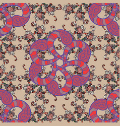 colored mandala logo on beige pink and violet vector image