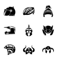 Crash helmet icons set simple style vector