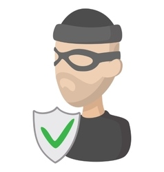 Crime insurance icon cartoon style vector