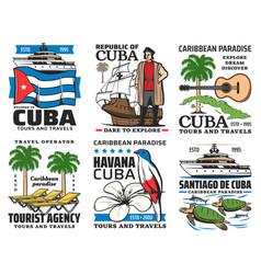 Cuba travel symbols landmarks sightseeing tours vector