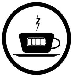 Cup of coffee and battery lightning vector image