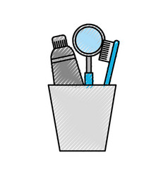 cup with toothbrush and toothpaste vector image