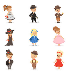 Cute children in elegant clothes for official vector