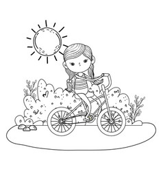 Cute little girl riding bicycle in the landscape vector