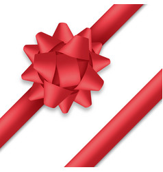 decorative red bow with ribbons gift box wrapping vector image