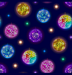 Disco mirror balls party seamless pattern vector