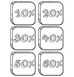 Doodle designs of price discounts vector image