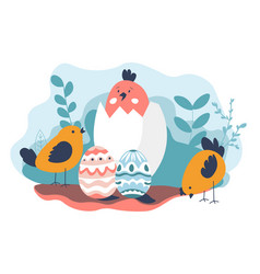 easter holiday celebration chicken and paint eggs vector image