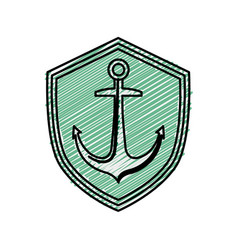 Emblem with anchor icon vector