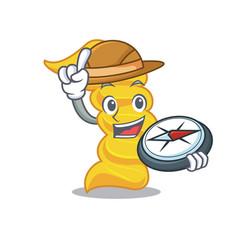 explorer fusilli pasta mascot cartoon vector image