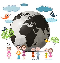 Family Members with Globe - Earth and Trees Clouds vector image