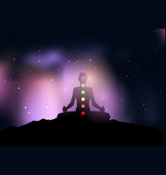 Female with chakra in yoga pose against starry vector