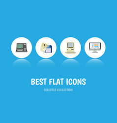 Flat icon laptop set of technology computing vector