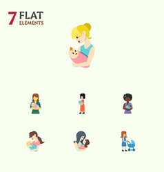 Flat icon parent set of woman newborn baby mam vector