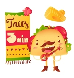 Funny taco character playing guitar special offer vector