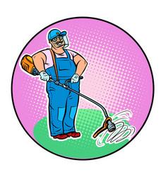gardener with manual lawn mower vector image