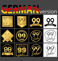 German set of number 99 templates vector