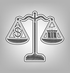 Gift and dollar symbol on scales pencil vector