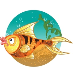 Gold Fish with striped tiger vector image