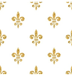 Golden fleur-de-lis seamless pattern white 3 vector