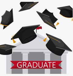 Graduation cap building university icon vector