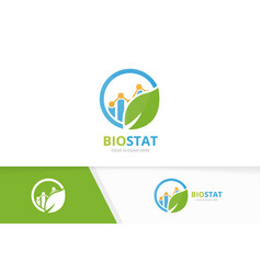 graph and leaf logo combination diagram vector image