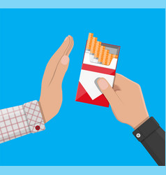 Hand gives cigarette to other vector
