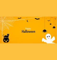 Happy halloween yellow background or banner with vector