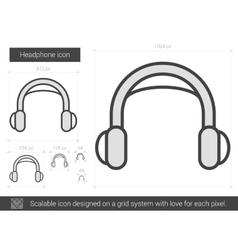 Headphone line icon vector image