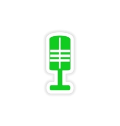 Icon sticker realistic design on paper microphone vector