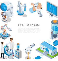 Isometric artificial intelligence concept vector