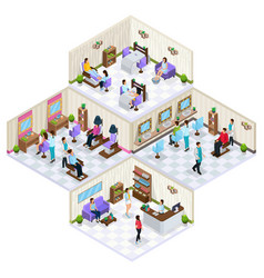 isometric beauty salon interior concept vector image