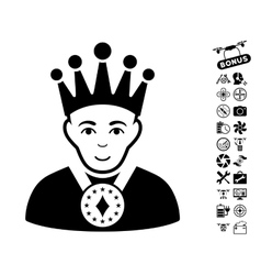 King Icon With Flying Drone Tools Bonus vector