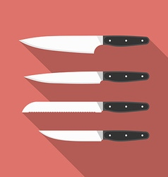 Kitchen knives collection of cooking knives Flat vector image