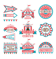 Labels in retro style logos for circus vector